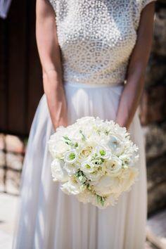 Gorgeous Round Bridal Bouquet: White Lisianthus, White Roses, White Peonies