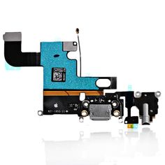 "Original Charging Port Dock Connector Flex Cable for iPhone 6 4.7"" Headphone Audio Jack with Mic Antenna (Black)"