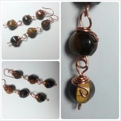 Long Earrings realized with copper and Tiger's Eye stones. For info about price contact me :)
