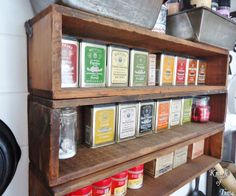 Antique wooden boxes used as spice racks via KnickofTimeInteriors.blogspot.com
