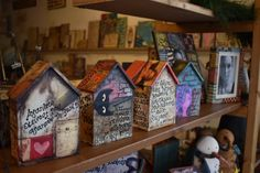 wooden houses with words by greek poets recycling wood, painting, collage Wooden Houses, Painting Collage, Gingerbread, Recycling, Greek, Bird, Outdoor Decor, Home Decor, Timber Homes