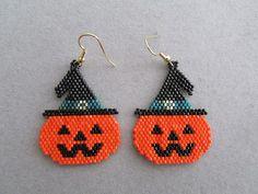 Jack-O-Lantern Earrings in delica seed by DsBeadedCrochetedEtc