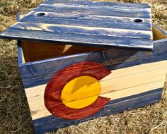 Distressed Classic Colorado Flag Storage Box by ColoradoJoes. Woodworking Guide, Custom Woodworking, Woodworking Projects Plans, Teds Woodworking, State Of Colorado, Detailed Drawings, Kids Wood, Boys Room Decor, Flag Design