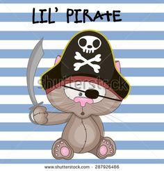 Cute cartoon Cat in a pirate hat