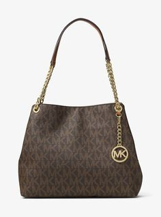 Michael Kors Jet Set Chain Item Large Signature Logo Shoulder Bag (Brown)   MichaelKors f40efbd195