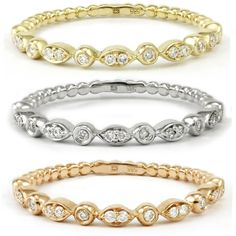 Available in yellow, white, and rose gold these popular diamond bands can be stacked to create a colourful sparkling effect.