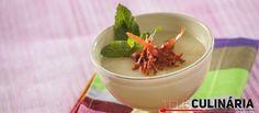 Receita de Sopa fria de melão com presunto crocante. Descubra como cozinhar Sopa…