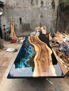 GIANT coffee table epoxy table river table ocean table handmade beautiful table – Harztisch – Home crafts Diy Resin Table, Epoxy Wood Table, Epoxy Resin Table, Diy Table, Diy Epoxy, Lamp Table, Console Table, Door Wood, Table En Bois Diy