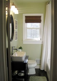 Bathroom Redo from Young House Love (the before is almost exactly what we currently have) Young House Love, Bad Inspiration, Bathroom Inspiration, Green Paint Colors, D House, Bathroom Renos, Bathroom Ideas, Bathroom Layout, Design Bathroom