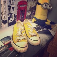 Yellow converse Worn several times in high school! Has been sitting in my closet for years! Needs a new home Converse Shoes Sneakers