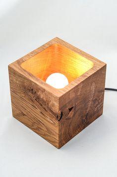 wooden lamp Q56 handmade. light oak desk lamp. wood lamp.