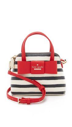 Kate Spade New York Women's Striped Mini Maise Cross Body Bag, Rich Navy/Cream, One Size