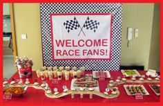 Race Car Theme ~ display cupcakes on a toy race track... fun idea!