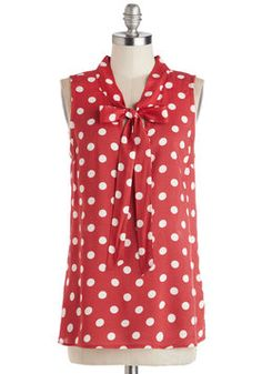 Knots and Dots Top. Fascinate with your effortlessly casual cuteness by reaching for this cherry-red sleeveless top! #red #modcloth