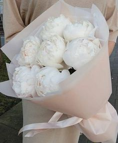 A beautiful bouquet of full bloom ,white, with a tinge of pink , cabbage roses. Wrapped in white and a soft pink paper ,tied with pink ribbon. Deco Floral, Arte Floral, My Flower, Beautiful Flowers, Exotic Flowers, Cactus Flower, Cabbage Roses, Pink Paper, Flower Aesthetic