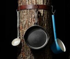 Use a Belt and Hooks to Hang Up Pots and Pans.