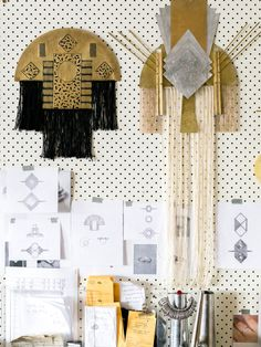 Abby Seymour - studio, art direction board. Wall hangings WIP and jewellery sketches in planing.