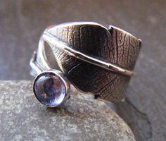 Silver Leaf textured tanzanite ring Statement by dAgDesigns
