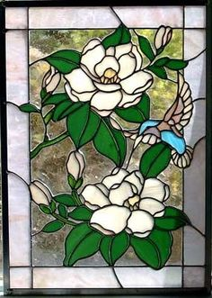 Magnolias Stained Glass Window Panel Choice of 3 by glassmagic