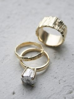Rockwell ii Wedding Set - A modern alternative to the traditional solitare ring, & is quickly becoming a classic. A solid gold rock replaces a gem, in a custom made setting.