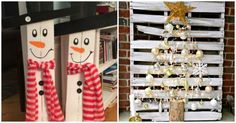 These pallet Christmas projects will help you deck your halls on a budget! From Bible quotes to snowmen, you& sure to find a project that you adore. Pallet Christmas Tree, Christmas Projects, Christmas Ideas, Holiday Ideas, Christmas Yard Decorations, Christmas Centerpieces, Magical Christmas, Christmas Crafts, Diy Décoration