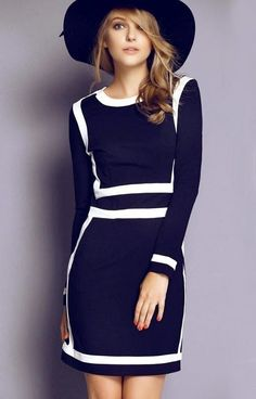 White Outlined Navy Dress