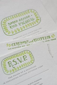 hand-written style, green design invites. me likes!