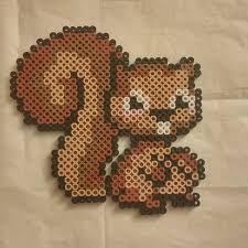 Veverka ze zažehlovacích korálků / Squirrel from hama beads Perler Bead Designs, Diy Perler Beads, Perler Bead Art, Melty Bead Patterns, Pearler Bead Patterns, Perler Patterns, Beading Patterns, Iron Beads, Melting Beads