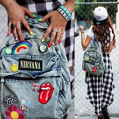 Cute street style..I love her backpack an nails