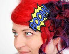 Metallic BOOM Hair Clip, Comic Book Hair Barrette, Various Colours