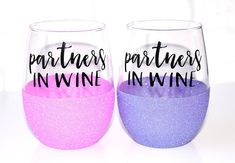 Best Friend Glitter Wine Glasses // Best Friend Gifts // BFF Gift // Sister Gift // Friendship Gift // Unique Gift Idea // Partners in Wine by OhDarlingDrinkware on Etsy https://www.etsy.com/listing/510130838/best-friend-glitter-wine-glasses-best