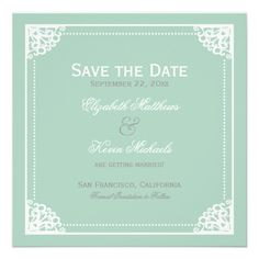 Elegant Vintage Cornice Frame Mint Save the Date Invitation #mintwedding #wedding #formalwedding