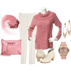 """""""Dusty Rose and Winter White - Plus Size"""" by intcon on Polyvore"""