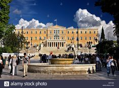 "Stock Photo - The Greek Parliament in Syntagma (""Constitution"") square, Athens, Greece Athens Greece, Urban Landscape, Constitution, Squares, Travel Destinations, Tourism, Greek, Stock Photos, Island"