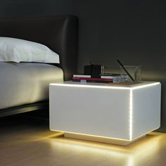 Luxury Nightstand | Neon in a nightstand, why d you need a lamp? | www.bocadolobo.com | #luxurynightstand #design
