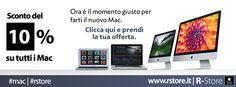 La pazza estate di R-Store. Dal 24 al 30 luglio puoi acquistare il tuo nuovo Mac con uno sconto del 10%.   - Scopri qui tutte le offerte:  http://rstore.it/promozioni-a/514-sconto-del-10-su-tutti-i-mac-luglio-2013#.Ue_d4WR5yuE