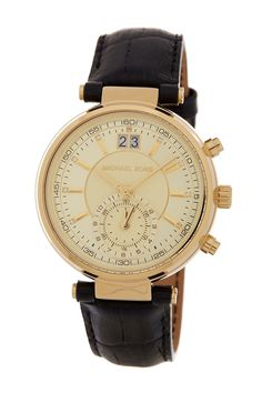 Women's Sawyer Croc Embossed Leather Strap Watch by MICHAEL Michael Kors on…