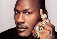 Michael Jordan born in Brooklyn was raised in Wilmington, NC where he later attended UNC-Chapel Hill. One of the greatest basketball players who was a part of two Olympic gold medal teams and 6 NBA championship teams with the Chicago Bulls. Michael Jordan Rings, Michael Jordan Images, Michael Jordan Quotes, Michael Jordan Championships, Nba Championships, Chicago Bulls, Lebron James, Sr1, Championship Rings