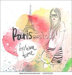 pretty young girl in Paris . vector illustration. watercolor. - stock vector id 142572121