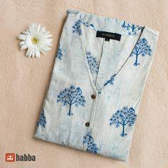 Bagru Hand Block Printed Cotton Button Down Dress White Silk Kurti Designs, Churidar Designs, Tunic Designs, Sleeve Designs, Salwar Pattern, Kurti Patterns, Embroidery On Kurtis, Kurti Embroidery Design, Neck Designs For Suits