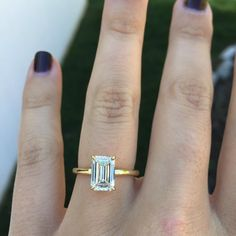 Simple perfection - emerald cut diamond with thin plain yellow gold band and chunky pave diamond yellow gold wedding band Rectangle Engagement Rings, Emerald Cut Engagement, Gold Engagement Rings, Solitaire Engagement, Emerald Cut Rings, Emerald Cut Diamonds, Pink Diamonds, Stone Fox Bride, No Rain