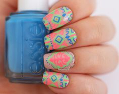 Katy Perry (Brit Awards 2014) Neon Tribal Nails + Tutorial