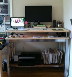 """Ikea Hack Desk: """"Even with Ikea's good variety of table top and leg options, there are only two telescoping legs. Vika Byske goes to 42″ but they're not stable enough to use four together. Instead, one would use two legs with the other side of the table top hinged to the wall. The other legs, Vika Kaj, only go to just over 35″."""" Utby Underframe #standingdesk"""