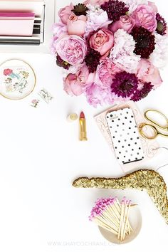 prop styling, product styling, and photography by Shay Cochrane | www.shaycochrane.com | pink, gold, black and white