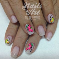 Nude with neon Beautiful Nail Designs, Cute Nail Designs, Nail Manicure, Toe Nails, Spring Nails, Summer Nails, Vanessa Nails, French Nail Art, Flower Nail Art
