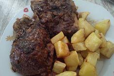 CARRILLERA CON CERVEZA FUSSIONCOOK: Dorar con ajo y cebolla, añadir 1 lata cerveza. Menu guiso 40 mn. Reducir al gusto. Steak, Beef, Crock Pot, Garlic, Onion, Ale, Meat, Ox, Steaks