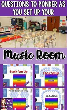 Practical tips for organizing and setting up your music room. Ideas for arranging your furniture for multiple classroom activities, DIY storage solutions, planning for transitions (singing to writing, dancing to sitting, etc…). This post is crammed full o Music Room Organization, Teacher Organization, Organizing, Organization Ideas, Choir Room, General Music Classroom, Singing Lessons, Singing Tips, Learn Singing