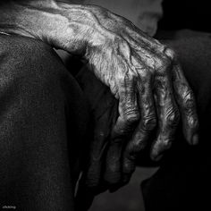 Old hand.  Kinda creepy, but it makes me think of someone who has worked  hard all there life & that makes it beautiful!