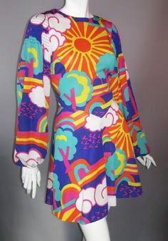 Dorothea's Closet Vintage dress, 70s dress, Peter Max style (archives)