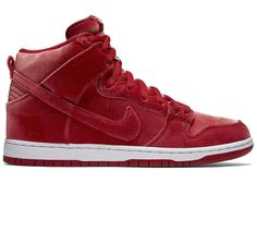 nike dunk sb high premium gym red / red-white gym